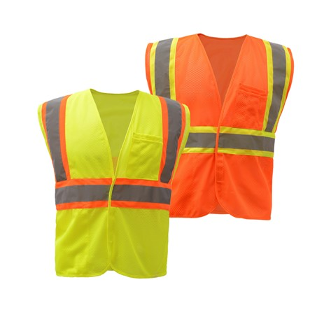 ECONOMY CLASS 2 SAFETY TWO-TONE VEST - HOOK & LOOP