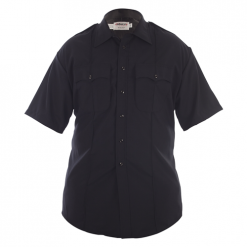 Elbeco Mens, Navy, Distinction Short Sleeve Plain Pocket Shirts, Without Creases