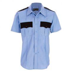 Men's Two-Tone Polyester/Cotton Short Sleeve Shirt with Hidden Zipper